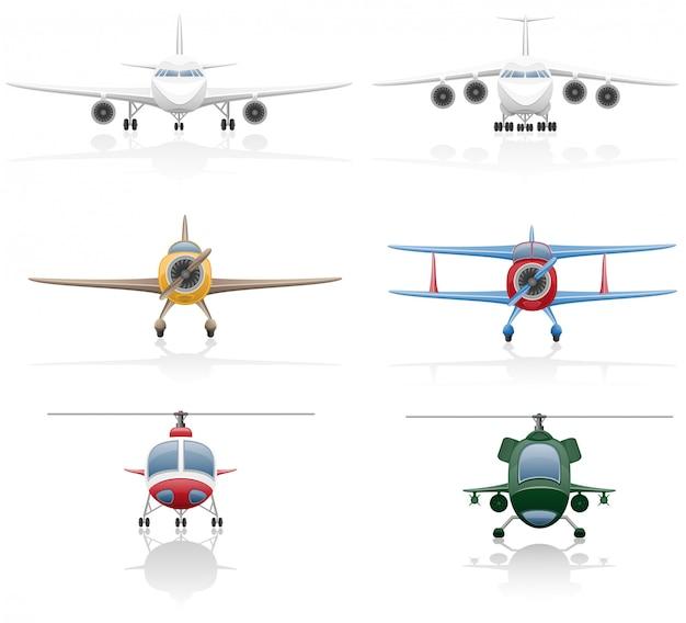 Conjunto de ilustración de vector de avión y helicóptero