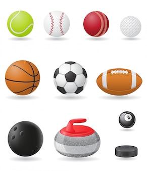 Conjunto de ilustración de vector de bolas de deporte