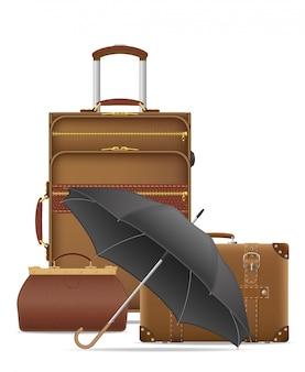 Conjunto de ilustración de vector de bolsas de viaje