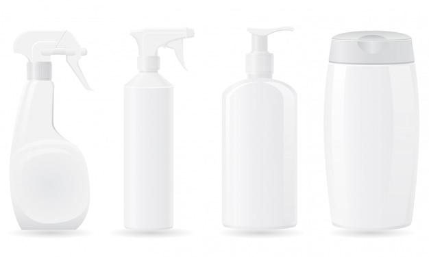 Conjunto de ilustración de vector de botella de plástico en blanco