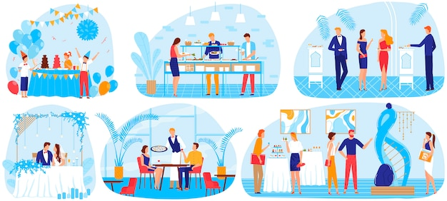 Conjunto de ilustración de vector de celebración de fiesta de comida de banquete.