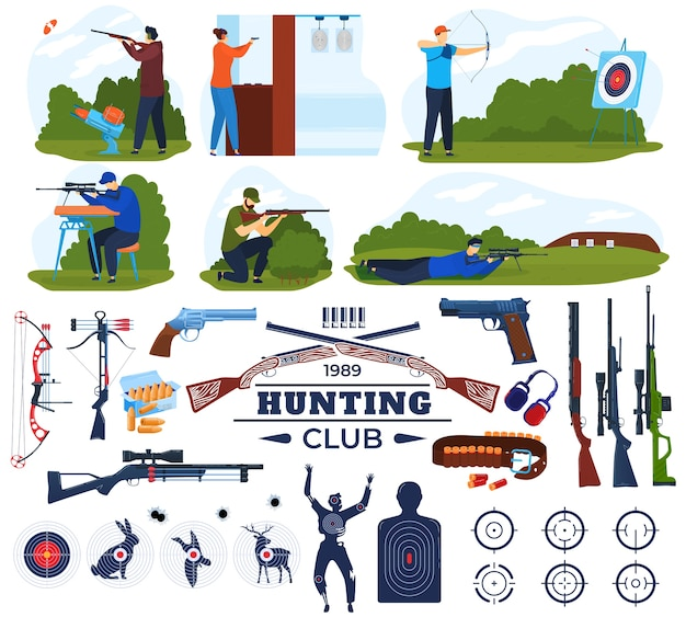 Conjunto de ilustración de vector de club de caza, colección de equipo de cazador plano de dibujos animados con galería de tiro y hombre con arma de fuego
