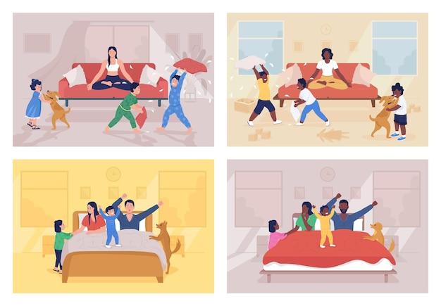 Conjunto de ilustración de vector de color plano de desafíos de crianza