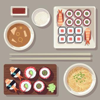 Conjunto de ilustración de vector de comida japonesa