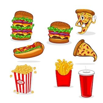 Conjunto de ilustración de vector de comida rápida