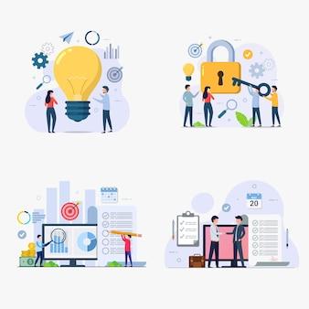 Conjunto de ilustración de vector de concepto de diseño de gestión empresarial