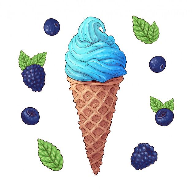 Conjunto de la ilustración del vector del cono de helado.