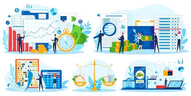 Conjunto de ilustración de vector de consulta financiera de cuenta.