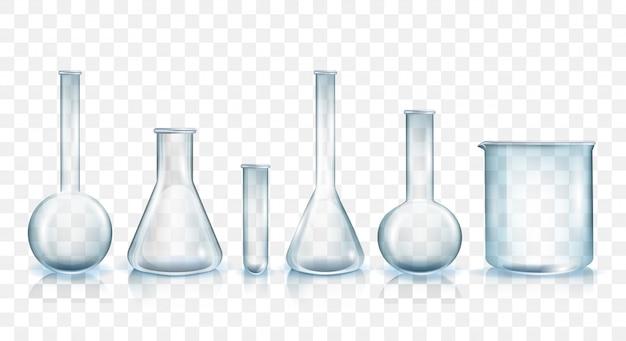 Conjunto de ilustración de vector de cristalería de laboratorio