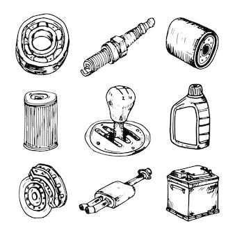 Conjunto de ilustración de vector dibujado a mano de elementos de garabatos de signo y símbolo de autopartes. aislado sobre fondo blanco.