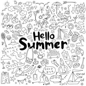 Conjunto de ilustración de vector dibujado a mano de elementos de verano