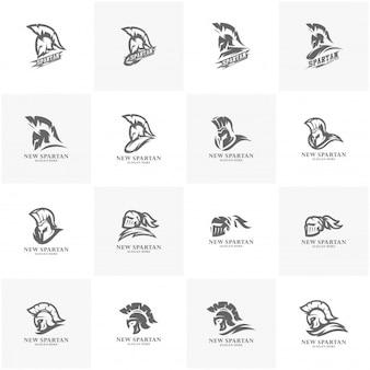 Conjunto de ilustración de vector de diseño de logotipo de guerrero espartano. diseño del logo del equipo deportivo guerrero.