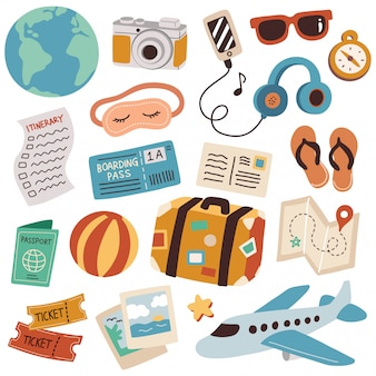 Conjunto de ilustración de vector de doodle de viaje