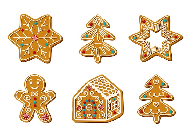 Conjunto de ilustración de vector de dulces caseros de pan de jengibre de navidad