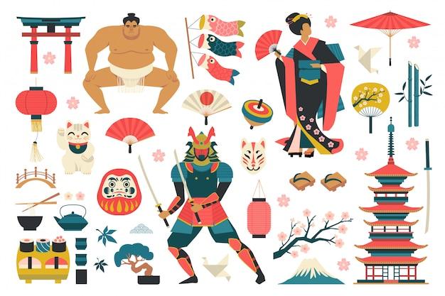 Conjunto de la ilustración de vector de elementos tradicionales japoneses.
