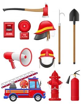 Conjunto de ilustración de vector de equipo de extinción de incendios