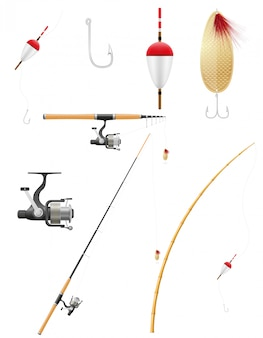 Conjunto de ilustración de vector de equipo de pesca