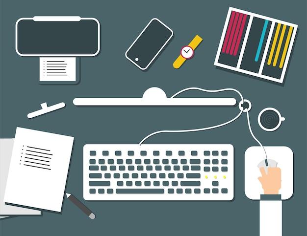 Conjunto de ilustración de vector de estilo plano de trabajo de oficina