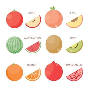 Conjunto de ilustración de vector de fruta