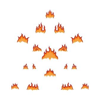 Conjunto de ilustración de vector de fuego