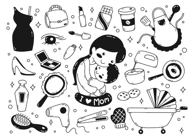 Conjunto de ilustración de vector de garabatos de objetos relacionados con mamá