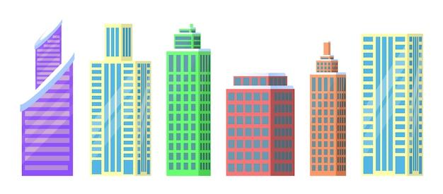 Conjunto de ilustración de vector de iconos de edificios de la ciudad