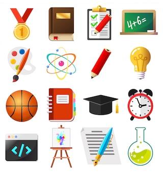 Conjunto de ilustración de vector de iconos planos escuela y educación