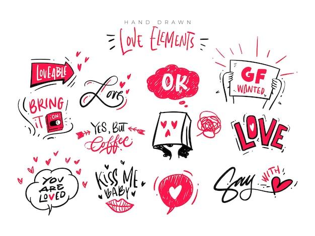 Conjunto de ilustración de vector de imágenes prediseñadas de elemento de amor dibujado a mano. tipografía de letras de amor con ilustración en vector.
