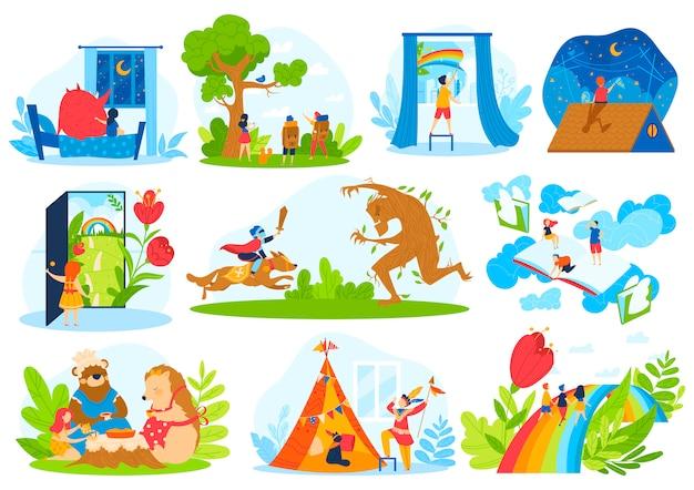 Conjunto de ilustración de vector de imaginación de cuento de hadas de niños