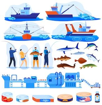 Conjunto de ilustración de vector de industria pesquera.