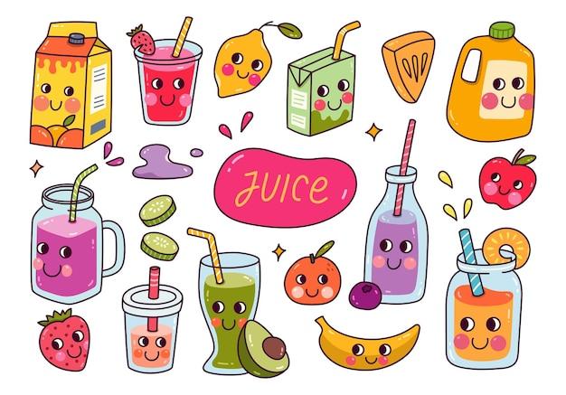 Conjunto de ilustración de vector de jugo de fruta kawaii