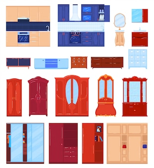 Conjunto de ilustración de vector de muebles de armario.