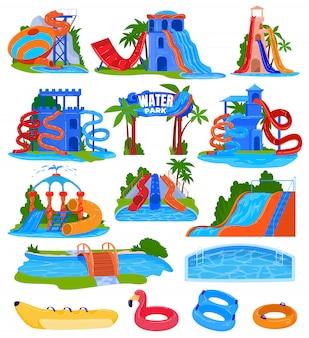 Conjunto de ilustración de vector de parque de atracciones de agua.