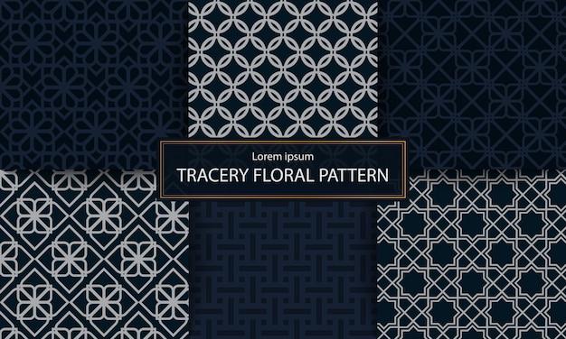 Conjunto de ilustración de vector de patrón de tracería clásica