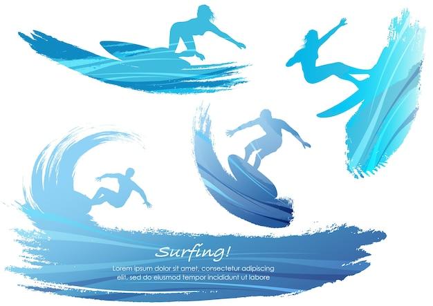 Conjunto de ilustración de vector de siluetas de surf aislado