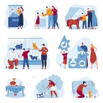 Conjunto de ilustración de vector de tienda de tienda de mascotas, personajes de dibujos animados planos propietarios de familias adoptan refugio de animales sin hogar