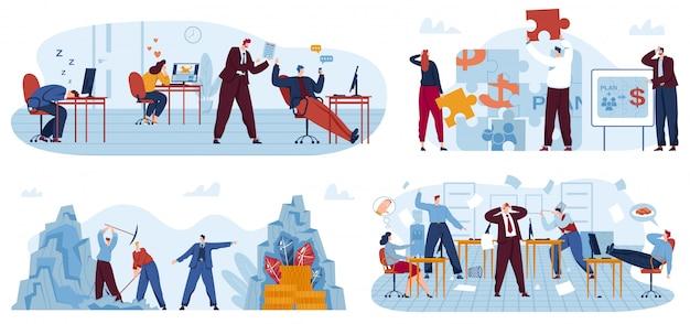 Conjunto de ilustración de vector de trabajadores de oficina de negocios perezosos.