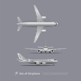 Conjunto de ilustración vectorial aislada de avión