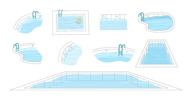 Conjunto de ilustración vectorial aislada de la piscina con escalera, vista superior y horizontal