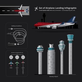 Conjunto de ilustración vectorial aislado infografía aterrizaje de avión