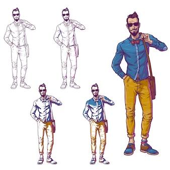 Conjunto de la ilustración vectorial de un chico de moda