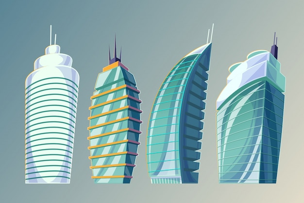 Conjunto de ilustración vectorial de dibujos animados de un resumen de grandes edificios urbanos modernos.