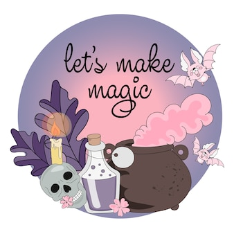Conjunto de ilustración vectorial de halloween hagamos magia