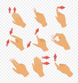 Conjunto de ilustración vectorial de iconos de gestos para dispositivos táctiles. puntero flechas y mano, portátil y mover. los dedos se tocan en diseño plano.