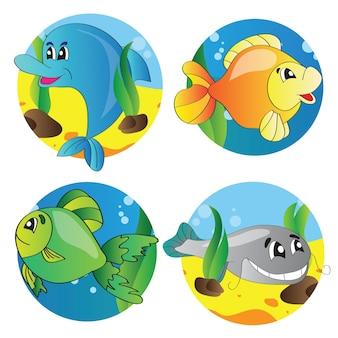 Conjunto de ilustración vectorial de imágenes de la vida marina