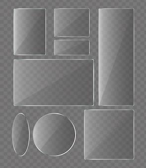 Conjunto de ilustración vectorial de placas de vidrio sobre fondo transparente. vidrio para recogida de teléfonos.
