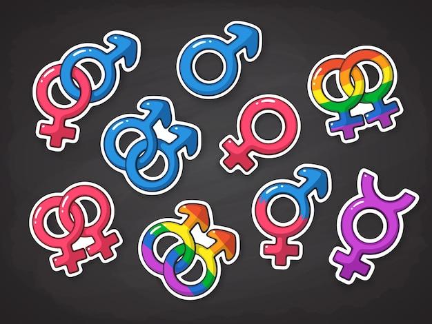 Conjunto de ilustración vectorial de símbolos de género relaciones de género pegatinas con contorno
