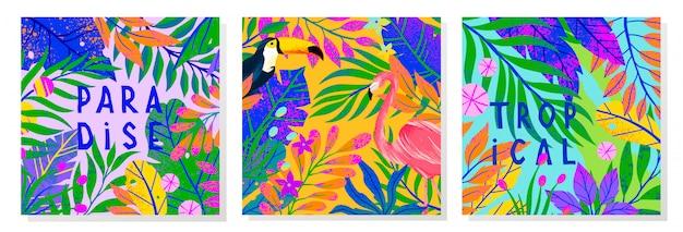 Conjunto de ilustración de verano con brillantes hojas tropicales, flamenco y tucán