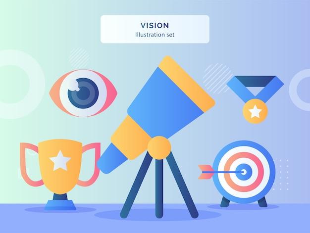 Conjunto de ilustración de visión telescopio mira hacia arriba de bola de ojo trofeo medalla flecha disparar en blanco con estilo plano.