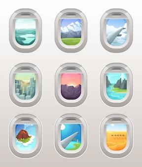 Conjunto de ilustración de vista de ventana de avión, plano interior de dibujos animados dentro, visualización a través del ojo de buey de la cabina en el destino de vacaciones de viaje